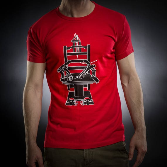 Electric chair shirt,tshirt men,red tshirt,Gift for him,Occult,Horror,Execution,Cotton,Fitted,Sol's tee,Serial Popers tshirt