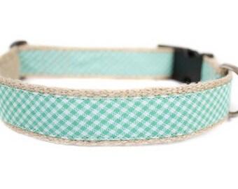 Dog collar / leash CHECK GREEN