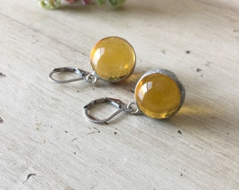 Yellow Marble Earrings / Soldered Jewelry / Glass Earrings / Antique Style / Soldered Earrings / Orb Earrings / Crystal Ball Earrings / Boho