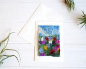 Handmade Felt Meadow Card - Wet Felted Card, Floral Card, Flowers, Countryside, Nature, Art Card, Mother's Day Card, Birthday Card, Blank