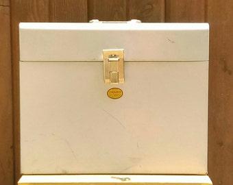 Vintage Curmanco Large Metal Lock Box with Original Key and Lock Hasp-Keepsake Lock Box-File Lock Box-Cash, Paperwork, File Locking Box