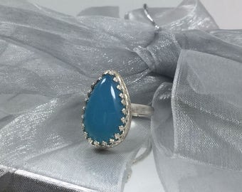 Magic Blue chalcedony,sterling silver ring,blue ring,sterling silver ring,decorative bezel,gallery wire.teardrop ,blue stone,statement ring.