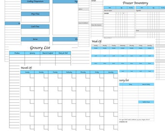 Menu Planning Kit | Printable Meal Planner | Monthly Menu Plan With Grocery List | Weekly Menu Plan | Kitchen Inventory
