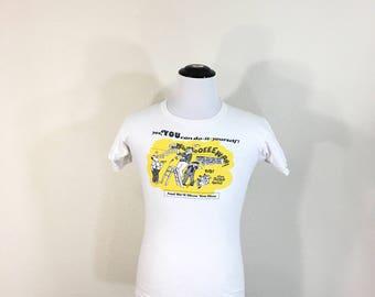 70's vintage 100% cotton huskies rose bowl t-shirt sizn medium