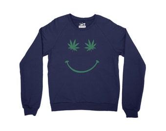Cannabis Leaf Smiley Mens Sweater Raglan Sleeve Crew Neck - Organic Cotton