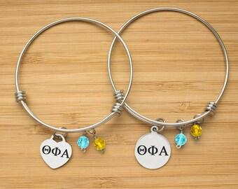 Theta Phi Alpha Sorority Bracelet | Stainless Steel Adjustable Bangle | Sorority Bangle Bracelets | Three Styles | Officially Licensed
