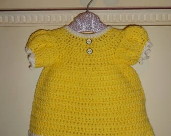 new born crochet dress yellow 0-3 months