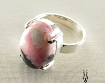 Rodonit Ring pink rodonit ring gift for her valentines idea , fashion jewelery, statement ring