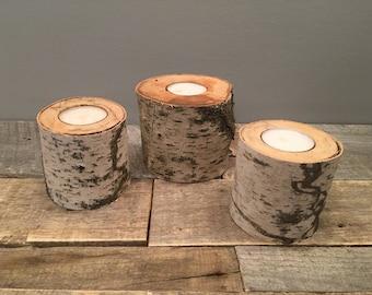 "Large Birch Tree Tea Light Candle Holder ((2.5"" - 4"" wide)"