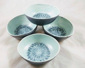 Cerulean and dark grey oval bowls, altered, chattered, serving bowl, unique gift