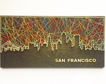 San Francisco Skyline String Art - San Francisco Art - California Art