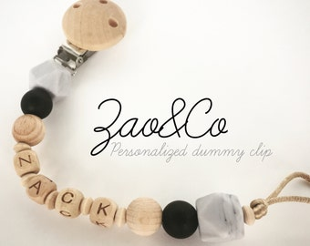 Dummy clip pacifier holder soother teether chain personalised baby shower gift name wood silicone beads custom newborn organic BPA free