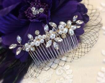 Crystal rhinestone bridal Hair Pins,  rhinestone Pearls bridal Hair Pins, Bridal Hair Piece, Wedding Hair Piece, Pearl flower Hair Piece
