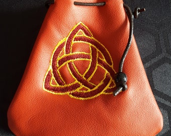 Embroidered Ox-blood Red Leather Drawstring Pouch Bag - Trifecta