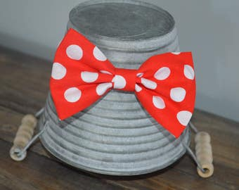 Minnie Mouse Red and White Polka Dot Hair Bow
