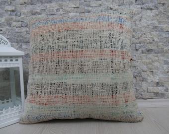 Cotton Handwoven Kilim Cushion 18 x 18 Decorative Bohemian Pillow Kilim Pillow Rustic Pillow Home Decor Turkish Pillow Kilim Cushion Pillows