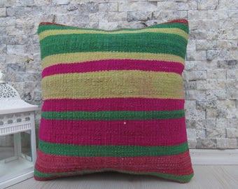 green and red striped pillow 14x14 pillow home decor pillow ethnic pillow handmade kilim pillow case vintage kilim pillow 14x14 boho pillow