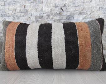 pale striped turkish kilim pillow case 12x24 flat handwoven kilim cushion boho cushion floor pillow 12x24 kilim rug decorative pillow