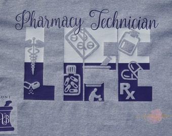 Pharmacy Technician Pharmacy Tech Monogrammed Life Shirt Long Sleeves Great Gift Idea
