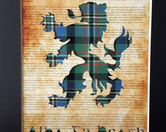 Scotland Rampant Lion Scottish Art Tartan Picture Gift - On Declaration Of Arbroath