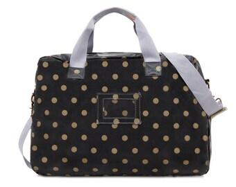 SALE! Oilcloth Overnight Bag - Polka dot bag - Travel bag - Weekend bag - Ladies Duffel bag - Diaper bag - Large Ladies Bag - Oil cloth bag