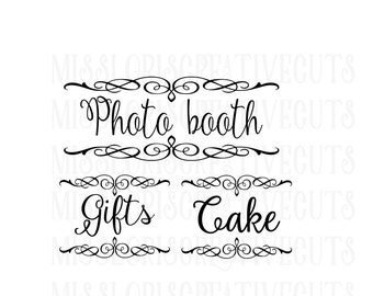 Cake Gifts Photo Booth signs  SVG Cut file  Cricut explore file  decal wood signs WEDDING