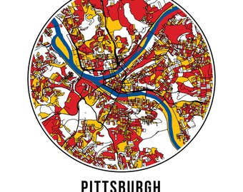 Pittsburgh Football - Community Color Map - Poster Print Wall Art- Neighborhood Fan