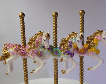 Edible Carousel horse cake topper edible 3 horses colors of your choice carousel cake edible horse party birthday
