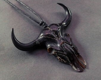Black Cow Skull Necklace, Cow Skull Pendant, Hand Carved Buffalo Horn Jewelry, Cow Skull Taxidermy Long Horns