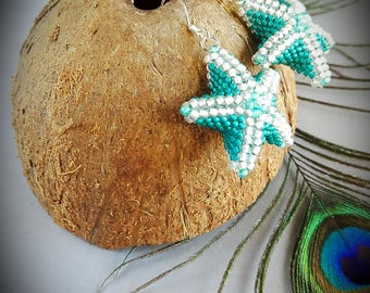 Handmade seed bead earrings sea star Peyote earrings