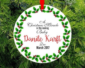 A Christma Miracle Birth Announcement  | Expecting Ornament | We're Expecting Christmas Ornament | CO-HB-11172016-1 | lovebirdschristmas