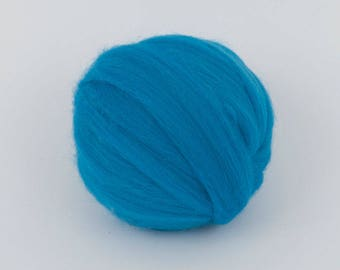 DodgerBlue B129, 24mic merino wool, 1.78oz (50gr) for needle felting, wet felting, spinning. 100% wool.