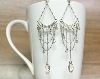Swarovski crystal and Chain Chandelier earrings, Dangle & Drop Earrings, gift for her, wedding jewelry, bridal earrings, clip on earrings