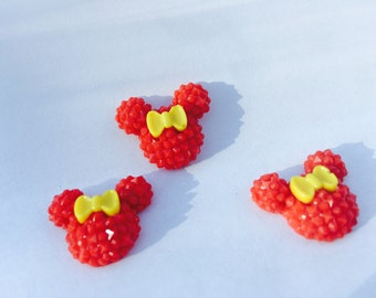 3 mouse cabochon, red minnie mouse,  flatback resin, embellishment, scrapbooking, cardmaking, hairbows, supply, minnie, red minnie, decoden