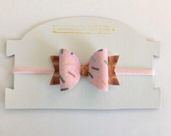 Pink Ice Cream Sprinkles Glitter Bow Headband Clip, Glittery Pink Sprinkles Ice Cream Cone Bow, Pink Sprinkles Bow Baby Toddler Girls Headba