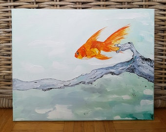 "11x14"" Oil Painting, Original Fish Painting, Jumping Gold Fish Art, Koi Fish Painting, Water Art"