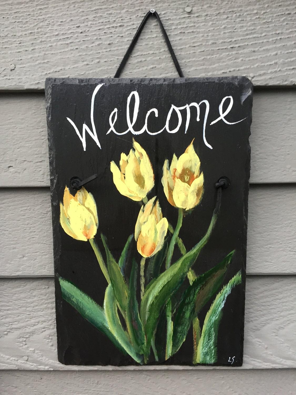 spring tulips slate welcome sign, 12 x 9 painted slate, door