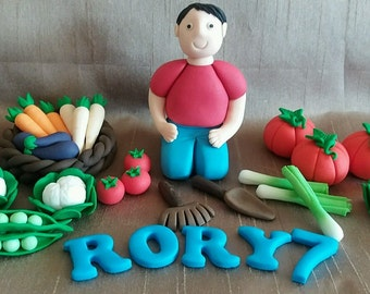 Edible icing vegetables gardening birthday, retirement, cake topper set