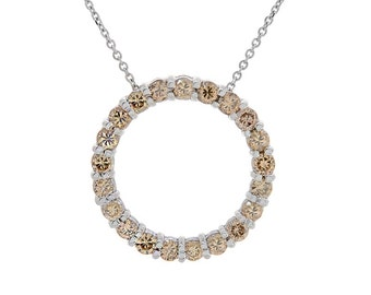1.75 Carat Fancy Cognac Round Diamond Circle Pendant on Cable Chain 14K White Gold
