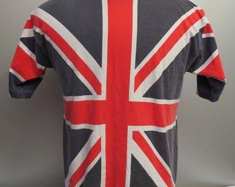 Vintage 1980s Union Jack T-shirt - Full Graphic Shirt - Men's Small