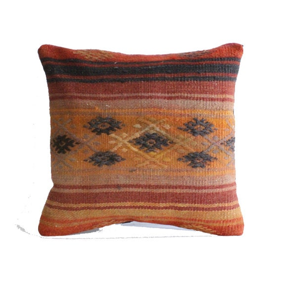 Striped kilim pillow 20x20 large cushion cover big pillow case