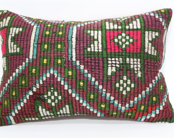 Embroidered Kilim Pillow Handwoven Kilim Pillow Sofa Pillow 16x24 Zigzag Kilim Pillow Fllor Pillow Cushion Cover  SP4060-402