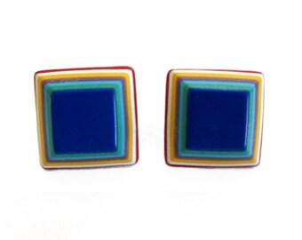Vintage Multi-Colored Layered Plastic Stud Earrings