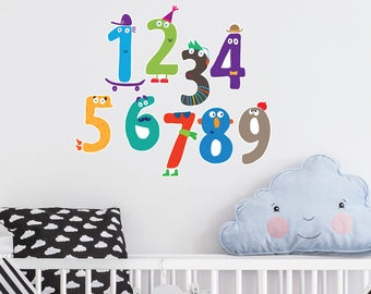 Numbers Collection | Numbers Alphabet Learning Educational School Classroom Nursery Kids Children's Bedroom | Removable Vinyl Wall Sticker