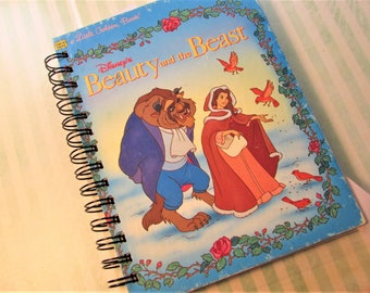 Disney Beauty and the Beast Book Altered Upcycled Notebook Journal