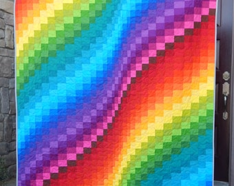 Made to Order, Rainbow Quilt, Lap Quilt or Twin Quilt, Bargello Quilt, Modern Quilt, Custom Quilt