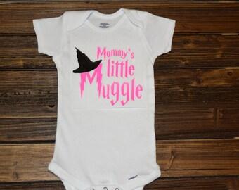 Mommy's Little Muggle Baby Bodysuit Baby  Baby Shower Gift Nursery Custom Clothing Infant Choice Of Font Color {K75}