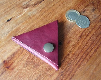Plum leather triangle coin purse