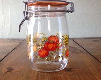 Retro Glass Spice of Life 1 Litre Canning Jar Hinged Lid Worn Seal Clear Mushroom Tomatoe Vegetable Kitchen Canister Flour Sugar Dry
