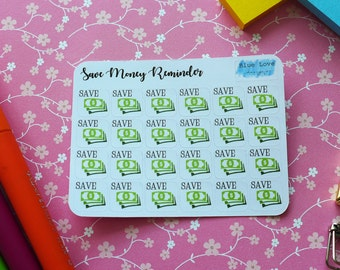 Save Money Reminder Sticker - Save Money Planner Sticker - Save Money Sticker - Reminder Sticker - Save Money - EC Planner Sticker